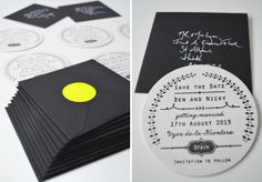 N&B custom save the date hand stamped beer mat coaster design for a destination wedding with black envelopes and neon stickers design by lucysaysido Wedding Mood Board, Home Wedding, Wedding Stuff, Wedding Ideas, Recycled Wedding, Handmade Wedding, Wedding Stationery Inspiration, Wedding Stationary, Wedding Save The Dates