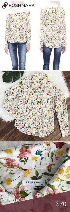 Equipment • Brett Button Down Blouse Garden Print Equipment Brett button down Blouse in tranquil garden print. Long sleeves. Button cuffs. 100% silk. Rare hard to find print. Size small. Excellent condition. NO TRADES. 1024vt120 Equipment Tops Blouses