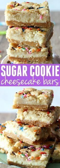 These Sugar Cookie Cheesecake Bars are the ultimate dessert! A layer of sugar co. These Sugar Cookie Cheesecake Bars are the ultimate dessert! Desserts Nutella, 13 Desserts, Delicious Desserts, Yummy Food, Plated Desserts, Sugar Cookie Cheesecake, Cheesecake Recipes, Simple Cheesecake, Oreo Cheesecake Bars