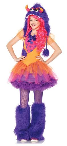 look like a fashionable beast in this vibrant ensemble the fur ocious frankie teen costume includes dress with chiffon skirt overlay and furry monster hood