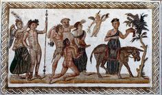 Silenus carried toward his donkey (mosaic from Roman Africa, present-day Tunisia)