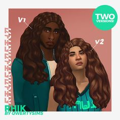 "RHIK BY QWERTYSIMS ""I made this hair for my sim, Rhiki, the lovely little sim on the right, and thought I'd share it! This hair comes in two versions. V1 with a center part and V2 with the side part...."