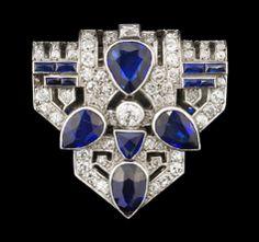 A diamond and blue sapphire clip, 1930's.