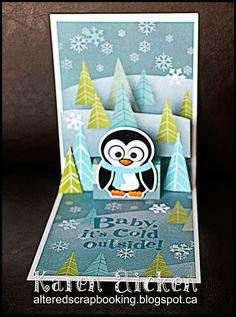 Karen Aicken using the Pop it Ups Lots of Pops and Chilly the Penguin dies by Karen Burniston for Elizabeth Craft Designs - Altered Scrapbooking: C4C241 - Sketch Challenge Card
