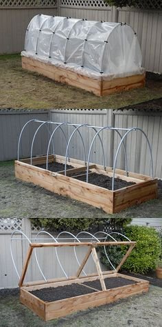 Raised Planter - The hinged lid allows for quick access, as well as easy venting.  Hoop house plastic can be rolled up in the summer to keep rain off tomatoes, or removed entirely during the hot months.