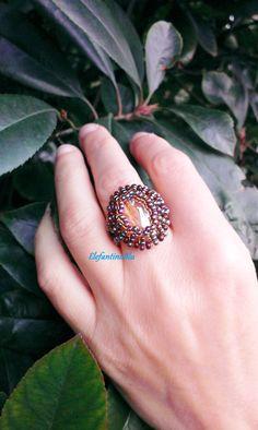 Anello cabochon topazio vetro anello di ElefantinoBlu su Etsy