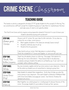 Crime Scene Classroom, Inference Lessons by Poet Prints Teaching Breakout Boxes, Teaching Materials, Teaching Ideas, Making Inferences, 3rd Grade Reading, Science Classroom, Reading Skills, How To Introduce Yourself, Middle School