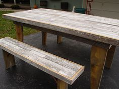 Image detail for -Reclaimed Shabby Chic Barn Wood Dining Farmers Table 2 Benches ...