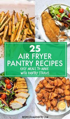 With these 25 Air Fryer Pantry Recipes, it's easy to make affordable & delicious dishes at home with ingredients you already have on hand! The air fryer makes it easy to cook up healthier versions of all your fried food favorites and can also transform inexpensive everyday pantry ingredients into tasty mains, sides, snacks, desserts, easy meals & frugal meals. Click through to get the awesome air fryer pantry meals!! #airfryer #airfryerrecipes #airfryerpantryrecipes #pantry #staples… Air Fryer Recipes Vegan, Air Fryer Dinner Recipes, Air Fryer Healthy, Brunch Recipes, Breakfast Recipes, Healthy Recipes, Yummy Recipes, Cooking Recipes, Healthy Appetizers