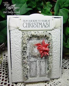 """""""Welcome Door"""" Christmas Card...with red gingham bow."""