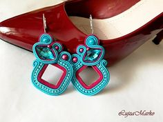 Soutache pink and turquoise elegant earrings