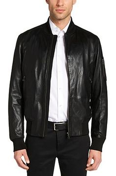 'Mirek' | Lambskin Leather Bomber Jacket, Black men style