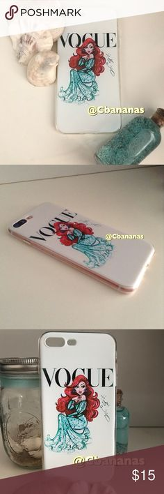 Little Mermaid Vogue iPhone 7 Plus Case Little mermaid is all grown up on this magazine style cover of Vogue. Brand new never used. Silicone soft case. Sea, seashells, red hair, Disney, ocean, beach, sand, summer. Accessories Phone Cases