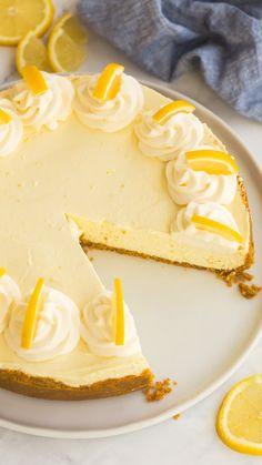 Best Lemon Cheesecake Recipe, Orange Cheesecake Recipes, Easy No Bake Cheesecake, No Bake Lemon Pie, Frozen Cheesecake, Coffee Cheesecake, Lemon Recipes Baking, Lemon Dessert Recipes, Mint Recipes