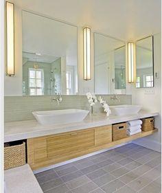 Ordinaire Modern Bathroom From Chictip.com Love The Wall Sconces U0026 Trough Sinks.