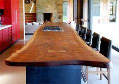slab walnut kitchen counter - Google Search