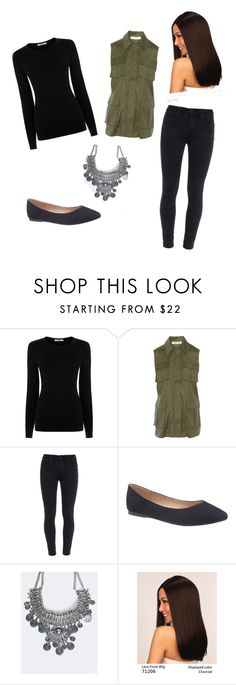 """""""Green vest and black top"""" by lolocan on Polyvore featuring Oasis, Elizabeth and James, Paige Denim, Lane Bryant, ZooShoo and LeSalon"""