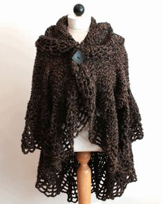 Boucle Cocoon Cape Crochet Pattern