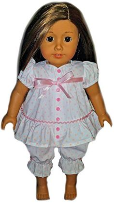 Doll Clothes Nightgown Pajamas for American Girl Dolls Outfit Includes Pink Polka Dot Baby Doll Pjs Top and Bottom (2 Piece Set) * Check this awesome product by going to the link at the image.