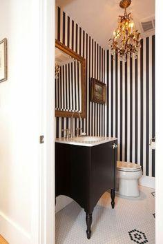 Powder Room Decor, Powder Room Design, Powder Rooms, Black Powder Room, Contemporary Home Offices, Contemporary Bathrooms, Home Design, Interior Design, Diy Bathroom Decor
