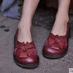 Artmu Spring Sweet First Layer Of Cowhide Red Single Shoes Handmade Flower Vintage Women's Shoes