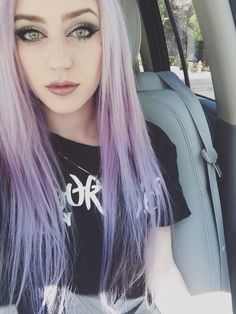 """northern-dwnpour: """" Back to being a purple-haired freak again! (Ignore my work uniform) """""""