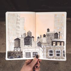 / rooftops and water towers, NYC / Carrie Shryock / Sketchbook Drawings, Art Drawings, Sketchbook Inspiration, Sketchbook Ideas, Art Diary, Guache, City Illustration, A Level Art, Cool Sketches