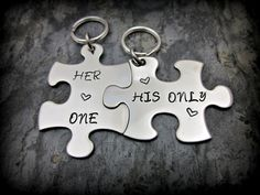 His and Hers Keychains - Her One His Only Puzzle Pieces - Stainless Steel Metal Stamped Yes please for my and my boyfriend