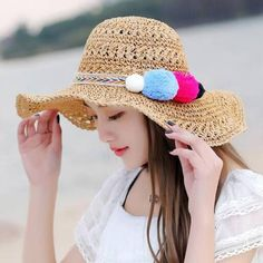 Hand Crochet straw hat with pom poms womens package beach sun hats