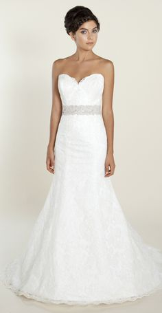 Ambrea- Aloncon Lace, fit and flare gown with Swarovski beaded belt. Available in pearl and cream pearl.