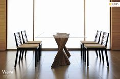 One of the best examples of wooden dining table with glass top is Wave dining table available at IDUS Furniture. It is the perfect centerpiece for your dining room; Wave is modern, minimalist and timeless. Dining Table Design, Wooden Dining Tables, A Table, Wood Joinery, Best Dining, Centerpieces, Dining Room, Waves, Glass