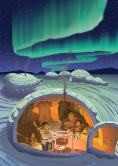 """Page I is for Inuits. An illustration for new children's book: """"Canada, Our Home and Native Land"""" -- Coming out soon! Igloo Drawing, Igloo Craft, Arctic Landscape, Alaska, Bottle Drawing, Symbolic Art, Children Sketch, Polar Animals, Inuit Art"""