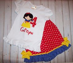 Princess Snow White Applique Short or Long Sleeve T-shirt with