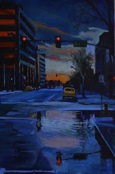 Wet Sunday Morning -16x24inches oil on panel by Toby Davis  www.tobydavisart.com