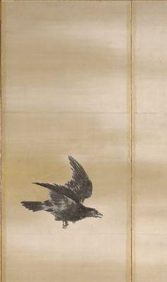Detail. Crows. Japanese folding screen. Maruyama Okyo. Eighteenth century. Kimbell Art Museum Japanese Prints, Japan Art, Crows, Art Museum, Detail, Artist, Artwork, Painting, Ravens