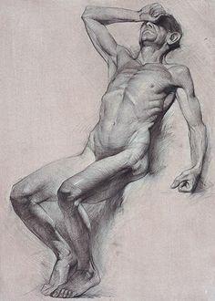 Hollis Dunlap, b. 1977, figurative seated discreet nude male drawing. hollisdunlap.com