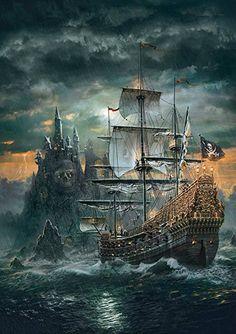 Clementoni Puzzle, Diamond Drawing, 5d Diamond Painting, Cartoon Pirate Ship, Pirate Art, Pirate Ships, Pirate Crafts, Bateau Pirate, Ship Paintings