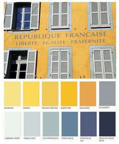 Provence Colors- yellow in the living room and blue for some accent walls... don't mind if I do!
