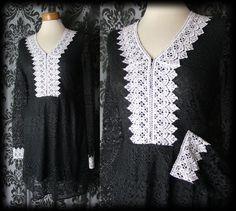 Gothic Black Lace VICTORIAN GOVERNESS White Bib Detail Tea Dress 8 10 Vintage - £36.00