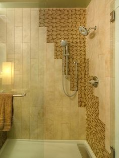 small bathroom renovations with amazing mosaic | cool bathroom tile idea with light 12 x 24 tiles on top of ...