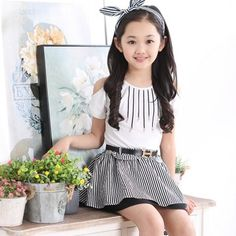 Summer Dress princess skirt child striped dress skirt fake two pcs in http://www.allymey.com online shopping sites