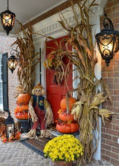 dried cornstalk pumpkins topiaries mums and a cute scarecrow would frame your - Halloween Corn Stalks