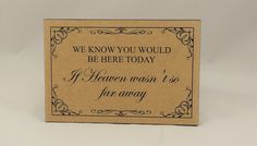 Wedding Sign, Memorial Plaque, In Loving Memory, We Know You Would Be Here  Today, Rustic Wedding Sign, Sentimental Verse, Mdf 03