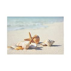 InterestPrint Summer Starfish and Seashell on the Sandy Beach Wall Hanging Tapestry - Beachfront Decor