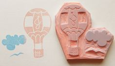 Up, up and away hot air balloon - personalized monogrammed hand carved rubber stamp