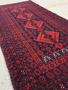 3'5''X7' Vintage Tribal Afghan Baluch Rug