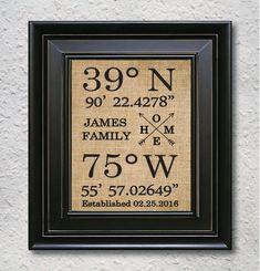 Gps Coordinates Home Sign Latitude Longitude Print Our First Personalized Housewarming Gift Burlap 7O Diy Birthday