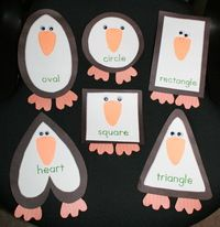 """Shapely Penguins! Includes an easy reader booklet about the shapes ending with """"This penguin is in the shape of my shoe, a keepsake especially for you!"""" http://www.teachwithme.com/blogs/getting-to-the-core/item/268-studying-shapes-with-penguins"""