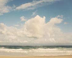 Ocean Photography, Beach Decor, Blue Green Beach Art, Crashing Ocean Waves, Surf Decor, Summer Wall Decor, Clouds - Nothing But Blue Skies
