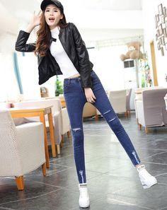 9f619f5249 CW57834 Holes loose fashion long pants autumn slim nine pants Cheap Pants